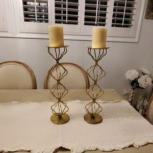 "Tall Gold Geometric 16.5"" Candle Holder Set of 2"